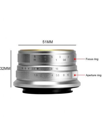 7artisans 25mm f/1.8 Lens for Sony E Mount (Silver)