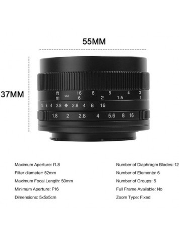 7artisans 50mm f/1.8 Lens for Fujifilm X